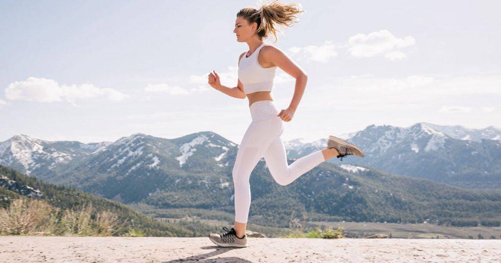 running outside mountain