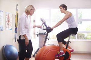 woman on exercise bikes